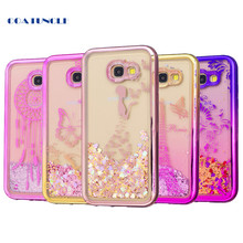 Soft TPU Phone Case For Samsung Galaxy A5 2017 A520 A520F Plating shell Case Dynamic Bling Liquid Glitter Quicksand Back Cover