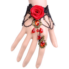Vintage Jewelry Hand Chain Rose Lace Bangle Pearl Gothic Lolita Bracelet Rose Slave Charm Beads Spider Butterfly