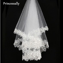 Princessally Ivory Wedding Veil New White Lace Bling Appliques Bridal Veil Soft Tulle Fashion Real Picture Wedding Accessories(China)