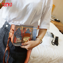 High Quality Clear Messenger Bags Women Transparent Purses Totes Candy Color PU Leather Bag jelly small square package h35(China)