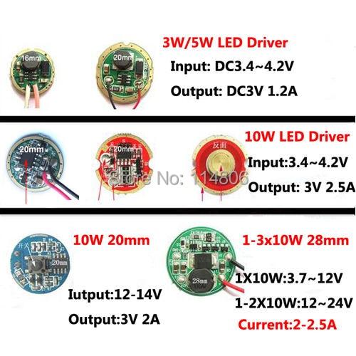 3.7V 7.4V 12V 24V LED Driver power Supply for Cree 3W 5W 10W XPE XRE XPG2 Q5 XML L2 T6 18650 battery LED flashlight Car Light<br><br>Aliexpress