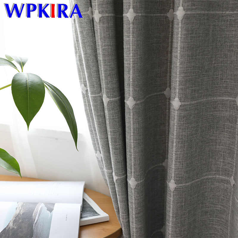 Grey Plaid Flax Linen Luxury Curtains Modern Living Room Bedroom Blackout Curtain Blinds Door Curtain Drape Sheer Tulle WP215-30