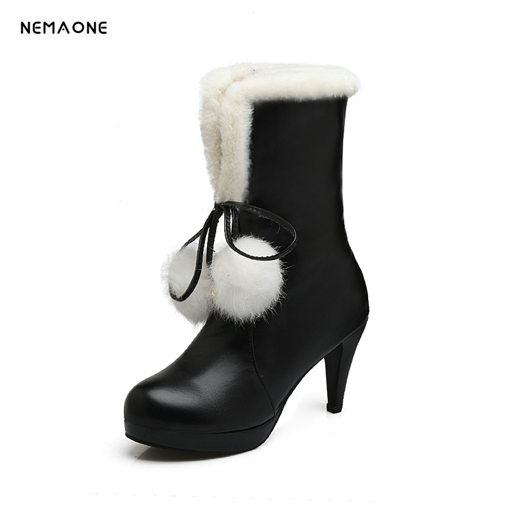 NEMAONE Warm boots comfortable sweet rabbit pu snow boots for women winter mid calf boots high heel shoes<br>