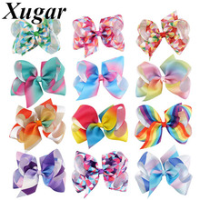 5 Inch Grosgrain Ribbon Rainbow Hair Clip For Girls Handmade Cartoon Hairgrips Kid's Headwear Hair Accessories