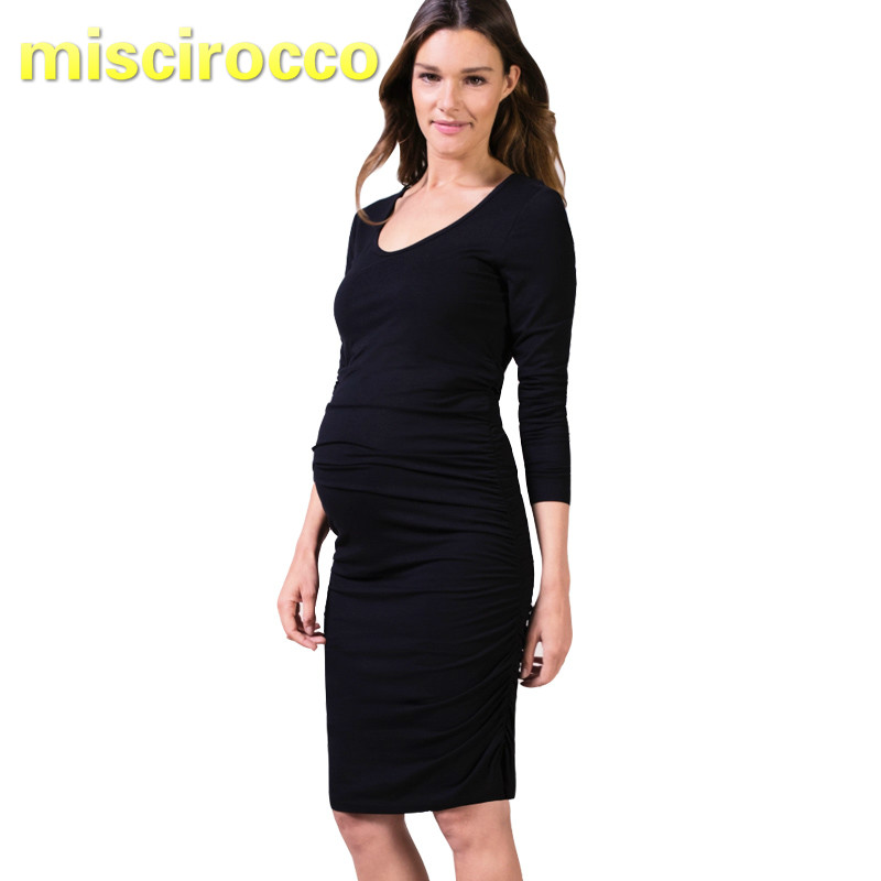 Maternity dress spring dress long sleeve round collar blouse tide mom fashion professional base shirt dress office go out<br>