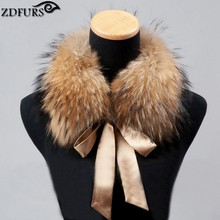 FXFURS 2017 Fashion Fur Scarf Real Raccoon Dog Fur Collars with Ribbon Real Fur Stole for Wool Coats 48CM(China)
