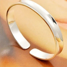Fashion S999 sterling silver bangle simple glossy design smooth concave open style