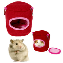 Mini Cute Pet Hamster Cage Hammock Nest Warm Plush Hamster House Rose Red Pet Product(China)
