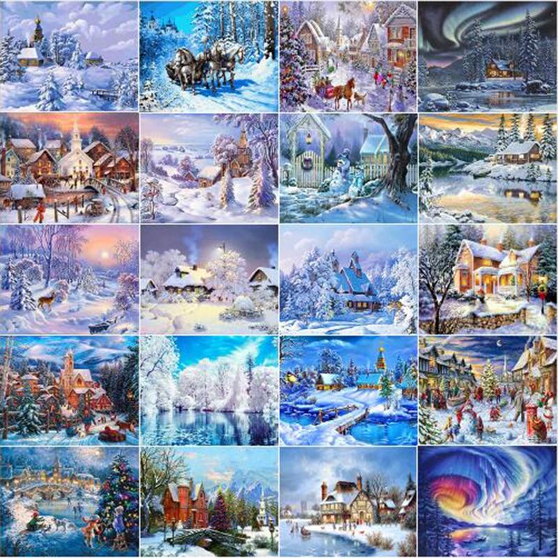 Diamond Painting Winter Cross Stitch Diamond Embroidery Snow Scenery Needlework Full Square Landscape Wall Decor