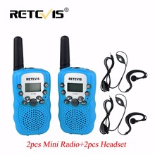 2pcs Mini Walkie Talkie Kids Radio Retevis RT388+2Pcs 1Pin Headset 0.5W 8/22CH PMR FRS/GMRS Portable Ham Radio Set Communicator