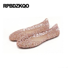 Women Jelly Shoes Cage Closed Toed Sandals Transparent Gold Silver Pink Cutwork Flat Slip On Ventilate Solid Round Toe Antiskid