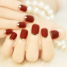24pcs Matte French False Nail Art Design Short Artificial Fake Nail Tips Manicure With GLue Black Blue Red