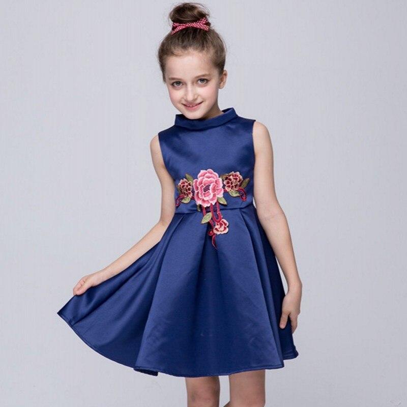 2017 summer high-end European girls dress baby girl embroidered princess dress kids girls cotton ribbons dress kids clothes<br><br>Aliexpress