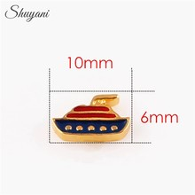 2015 Newest Floating locket Charms Enamel Cruise Ship Charms for Glass Living Memory Lockets Wholesale