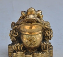 Free shipping Chinese bronze copper golden toad Laevis animal wealth lucky Bullions statue