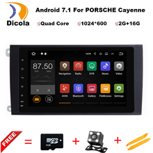 "9"" 1024X600 Quad Core 2GB RAM Android 7.1.1 Car DVD Player Radio GPS for Porsche Cayenne 2003-2010 Head Unit Autoradio 4G/WIFI"