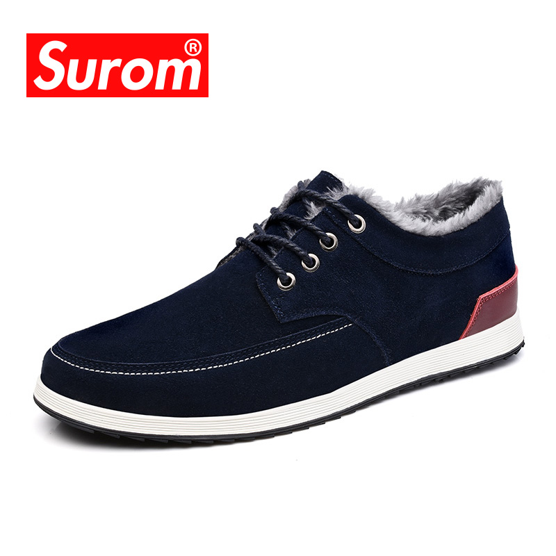 SUROM Brand Mens Casual Shoes Suede Leather Winter Warm Krasovki Lace up Male Boat Shoes Plush Fur Flats sapato masculino<br>