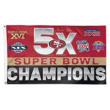 San Francisco 49ers 5X Super Bowl Champions Man Cave Sports Banner Basketball Flag 3' x 5' Custom Hockey Baseball Football Flag