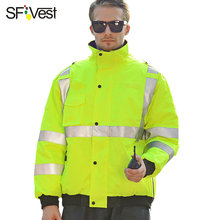 ANSI/ISEA 107 Class 3 men's 3M hi vis jacket waterproof winter safety jackets reflective workwear free shipping(China)