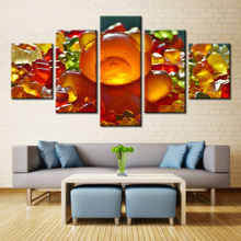 5 Pieces Canvas Paintings 5 Panel Gummy Bear Sweet Candies Colorful Marmalade Decorations For Home Wall Art Prints Canvas\A254(China)