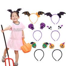 Lovely Kids Adult Girl Halloween Party Orange Pumpkin Skull Bat Headband Head bands Decoration(China)