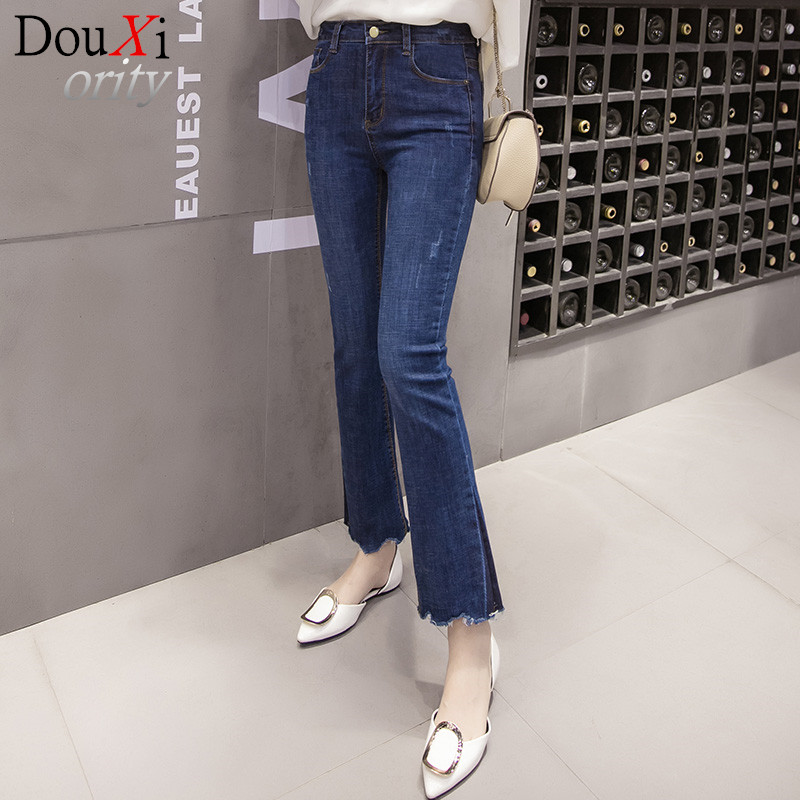 2017 New Flare Pants Jeans Women Casual Slim Jeans Blue Skinny Tassel Jeans Girls Trousers Mid Waist Jeans Одежда и ак�е��уары<br><br><br>Aliexpress