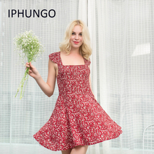 Plus Size New Iphungo Women Floral Print Dress 2017 Sexy Square Collar Short A Line Summer Mini Party Dresses Vestidos Mujer(China)