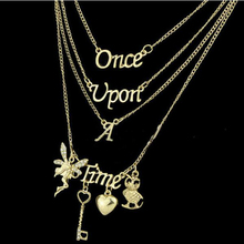 Hot Sell Cheap Letter Jewelry Multi Layer Gold Angel Necklace ONCE UPON A TIME FREE SHIPPING
