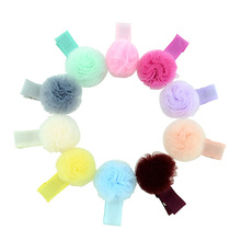10 Pcs/lot Korean Net Yarn Ball Girls Small Lovely Solid  Hairclip Kids Hairpins Hair Accessory Gift For Little Girls 687