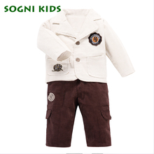 Baby Boys Blazer Single Breasted Kids Clothes Suits Coat Corduroy Pants For Child Weddings Enfant Garcon Clothing Sets Gentleman(China)