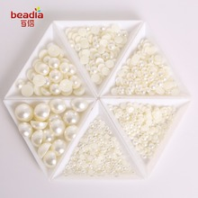 Hot Sale!! Dia 1.5-6mm White-Ivory-Mix Color Flatback Half Round Plastic ABS Imitation Pearl Beads For DIY Jewelry Craft