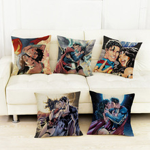 Buy Cartoon Wonder Woman Cushion Cover Home Decoration Superman Chair Sitting Pillows Love Kiss Sofa Linen Throw Pillow Case 45*45cm for $5.29 in AliExpress store