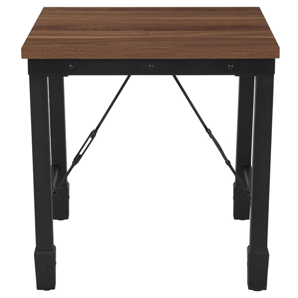 Brentwood Collection Rustic Walnut Finish Side Table with Industrial Style Steel Legs (1)