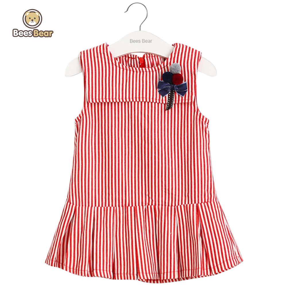 BeesBear 2017 Summer Brand Baby Kids Clothes Dresses Cute Striped Bowknot Embellished Pleated Princess Dress Girls Cotton Dress<br><br>Aliexpress