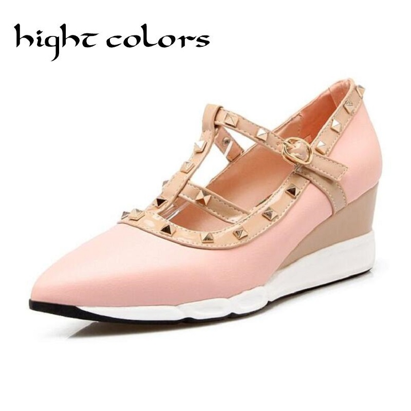 HIGHT COLORS Pointed Toe Pumps 2017 Women Fashion Comfortable Wedges Shoes Casual Rivet Hasp Slip-On Ladies Shoes Footwear 39<br>