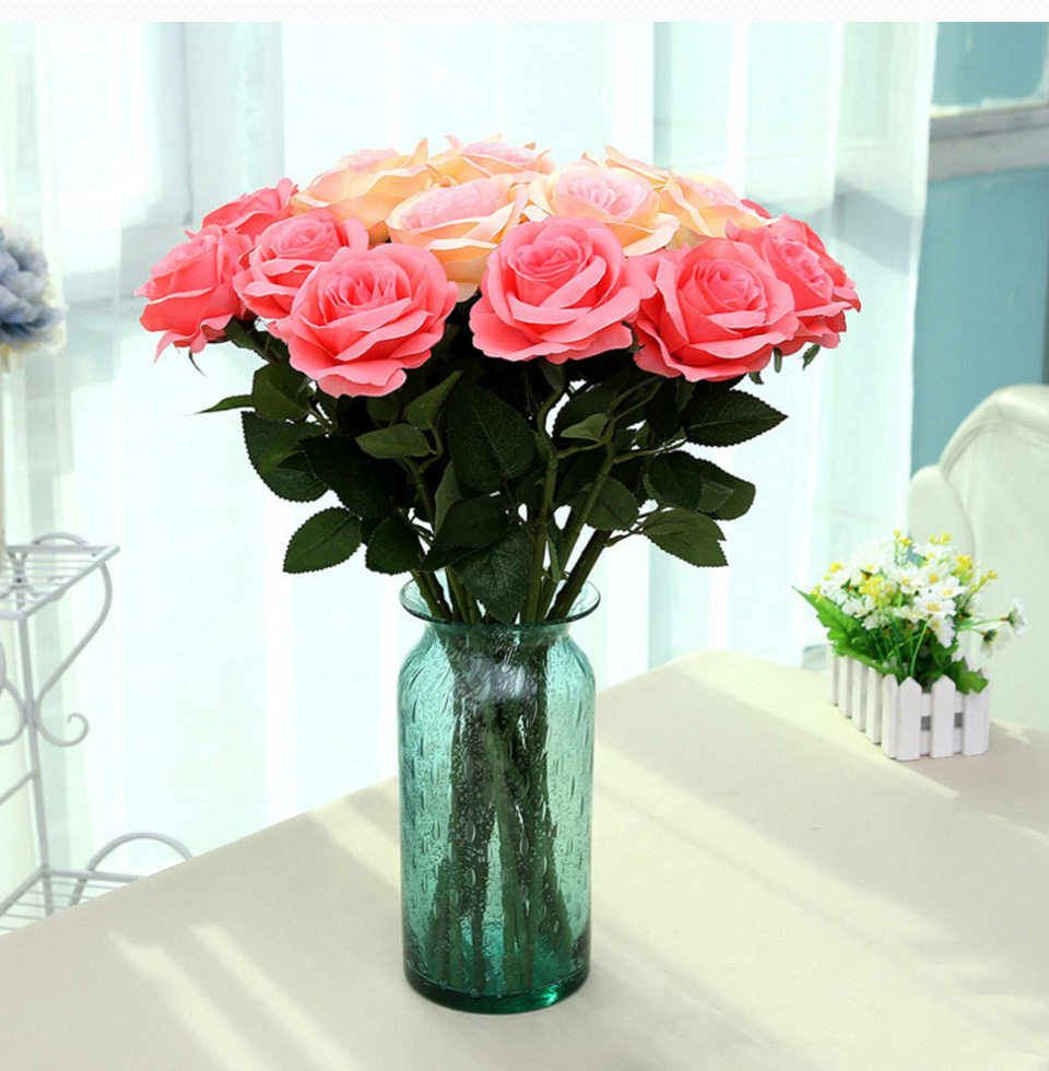 1pc Silk Roses Artificial Flowers Wedding Decoration Fake Flowers White Blue Green Pink Red Purple Artificial Silk Flowers Roses 123_09
