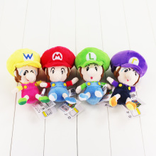 4 Styles Super Mario Bros Plush Toy Baby Mario Luigi Wario Waluigi Soft Stuffed Dolls for Children