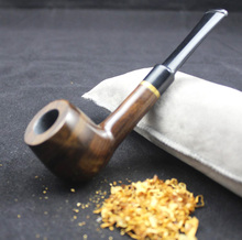 16 Tools Handmade Natural Ebony Wood Weed Tobacco Smoking Pipe Set Golden Ring Brown Wooden Pipe 9mm Pipe Filter 519Ry