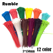 New 100pcs/bag 12 Color 3X150MM Self-Locking Nylon Wire Cable Zip Ties Cable Ties White Black Organiser Fasten Cable