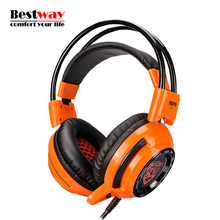 Headphones With Microphone Gaming Sluchatka PC Gamer Bass Computador Gamer Headset LED Light Computer Earphones PK Steelseries