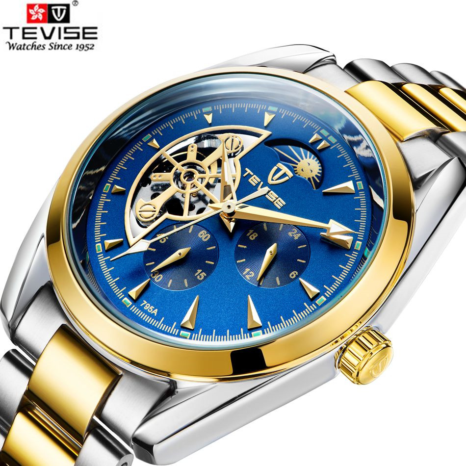 Tevise Casual Watch Horloges Mannen 2017 Mens Day Moonphase Auto Watch Mechanical Watches Mens Wristwatches Gift Box Free Ship<br>