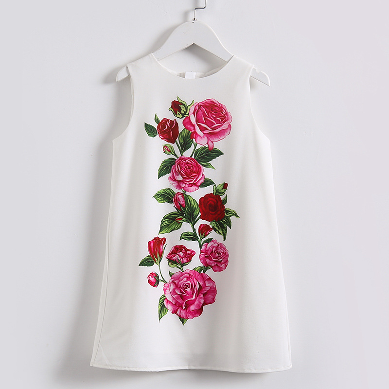 Summer Girls Dress Children Rose Print Vest Princess for Party Kids A Line White Clothing High Quality<br>