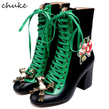 Free Shipping 2017 New Styles Women High Heels Boots Real Genuine Leather Floral Lace Up Mid Boots Metal Bowknot Name Brand Boot