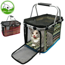 Portable Foldable Cat Dog Carrier Basket Bag Printed Pet Outdoor Travel Kennel Tote For Dogs Cats Puppy