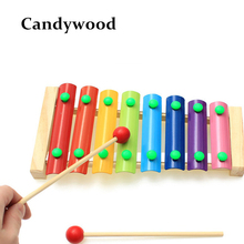 Wooden 8 Scales Xylophone Knock On Piano Baby Kids Wooden Toddler Learning Education Musical Toy