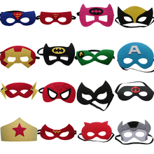 16pcs Super Hero Mask The Flash Captain America Batman Spider-Man Kids Happy Birthday Children's Day Gift Cosplay Party Supplies