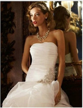 Short Front Long Back Wedding Dress White High Low Bridal Gowns sweetheart beading Off-the-Shoulder Wedding gown 2015