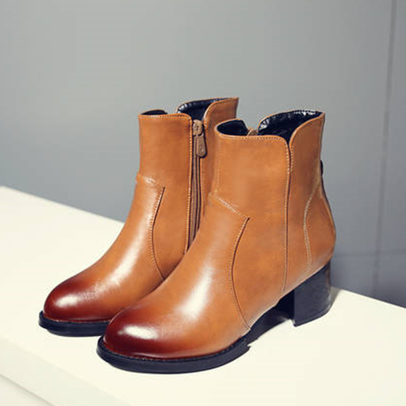 new British style Black Brown women Chelsea boots low heel Ankle Work &amp; Safety Boots firm toe riding boots winter shoes women <br><br>Aliexpress