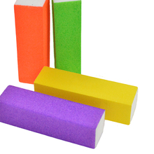 STZ 4pcs/lot Nail File Buffing Colorful Grit Sandpaper Sponge Orange/Yellow/Purple/Green Polishing Grinding Manicure Tool TR16(China)