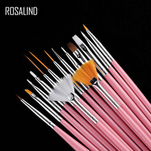 ROSALIND 15PCS/Set Gel Polish Brushes Pink Tools Gel Painting Pen Nail Tools Nail Brush Dotting Painting Drawing Pen Nail Art(China)